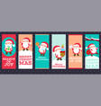 collection of christmas banners with cute santa vector image vector image