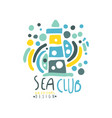 colorful patterned sea club logo design template vector image vector image