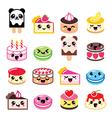 Cute Kawaii dessert - cake macaroon ice-cream ic vector image vector image