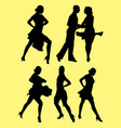 dancing salsa silhouette vector image