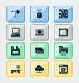 device icons set with control device tablet vector image