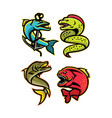 ferocious fishes sports mascot collection vector image