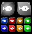fish icon sign Set of ten colorful buttons with vector image vector image