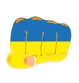 Fist with ukrainian flag vector image vector image