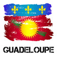 flag of guadeloupe from brush strokes vector image vector image