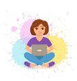 freelancer happy young woman working vector image vector image