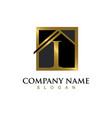 gold letter i house logo vector image vector image