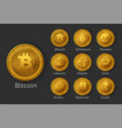 golden cryptocurrency coin icon sets vector image vector image