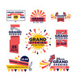 Grand opening ribbon band icons for