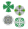 Green and white knotted celtic crosses vector image vector image
