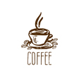 Hand drawn logo with coffee cup vector image