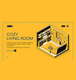 home living room interior isometric website vector image