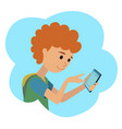 in flat style icon boy with vector image vector image