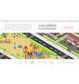 isometric children playground web page template vector image