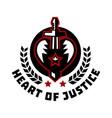 logo heart justice sword piercing the vector image