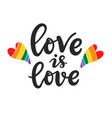 love is love slogan gay lesbian lettering poster vector image vector image