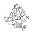 mermaid sitting on a seabed with two little fish vector image
