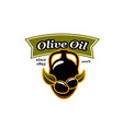 olive oil jar and olives icon vector image