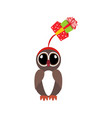 owl in christmas costume vector image vector image