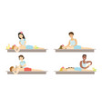 people relaxing at spa salon set man and woman vector image vector image