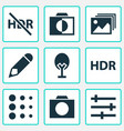 photo icons set with gallery hdr blur and other vector image vector image