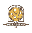 pizza menu emblem with wooden board and rolling vector image vector image