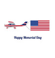 plane with flag of united states of america vector image vector image