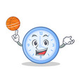playing basketball clock character cartoon style vector image vector image