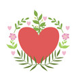 red hart framed with plants and flowers vector image