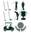 set of golf sport equipment vector image