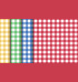 set seamless tablecloth textures red green vector image vector image