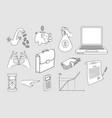 sketch business finance banking money set vector image