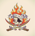 Skull of Pirate - tattoo design vector image vector image