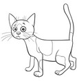 spotted cat cartoon character coloring book page vector image vector image