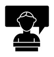student and dialogue solid icon speech bubble and vector image vector image