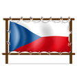 The flag of Czech Republic attached to the wooden vector image vector image