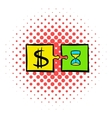 Time is money puzzle icon comics style vector image vector image