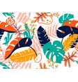 tropical seamless leaves pattern vector image vector image