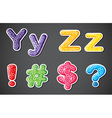 Two alphabet letters with four different symbols vector image