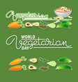 world vegetarian day handwritten word and vector image
