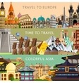 Worldwide travel set with famous attractions vector image vector image