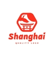 Asian sign Shanghai crane flies sky culture vector image