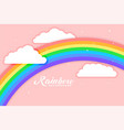 arched rainbow with cloud pink background vector image vector image