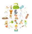 artisanal icons set cartoon style vector image vector image