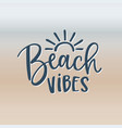 beach vibes hand-lettering quote card with sun vector image vector image
