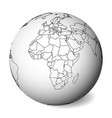 blank political map of africa 3d earth globe with vector image vector image
