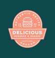 burger logo retro styled fast food emblem badge vector image vector image
