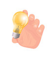 business idea hand of man holding bulb vector image