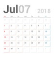 calendar planner july 2018 week starts sunday vector image