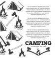 camping poster with fire axes tent vector image